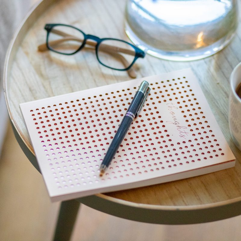 Journal coffee glasses midlife thinking questioning
